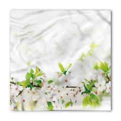 Beyaz Bahar Çiçekleri Bandana Fular