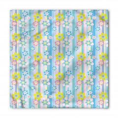 Mavi ve Sarı Çiçekli Bandana Fular