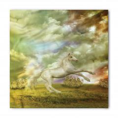 Beyaz At Desenli Bandana Fular