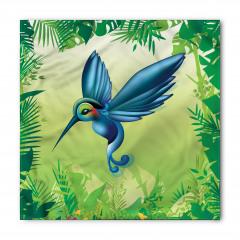 Mavi Kuş Desenli Bandana Fular
