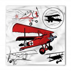 Kırmızı Uçak Desenli Bandana Fular