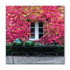 Kırmızı Yapraklı Ev Bandana Fular