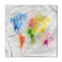 Dünya Haritası Desenli Bandana Fular