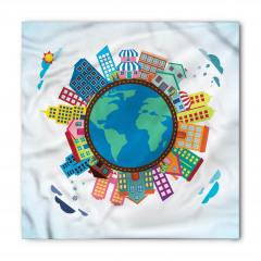 Dünya Binaları Desenli Bandana Fular