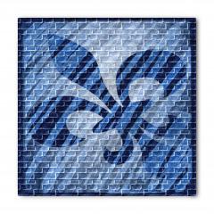 Mavi Zambak Desenli Bandana Fular
