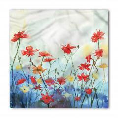 Kırmızı Sarı Çiçekler Desenli Bandana Fular