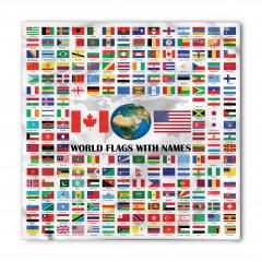 Dünya Bayrakları Desenli Bandana Fular