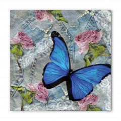 Kelebek ve Gül Desenli Bandana Fular