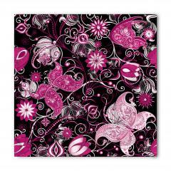 Pembe Dekoratif Çiçekli Bandana Fular