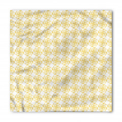 Sarı Çiçek Desenli Bandana Fular