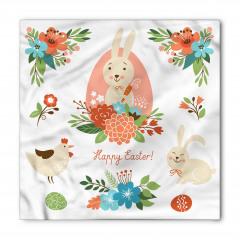 Tavşan ve Çiçek Desenli Bandana Fular