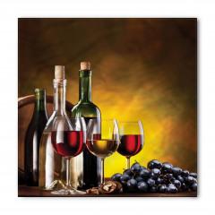 Şarap Kadehleri Desenli Bandana Fular