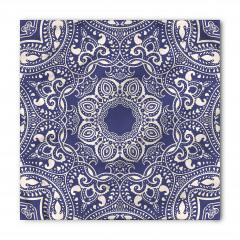 Mavi Beyaz Çiçekli Bandana Fular
