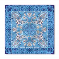 Mavi Çiçek Temalı Bandana Fular