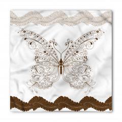 Nostaljik Kelebek Desenli Bandana Fular