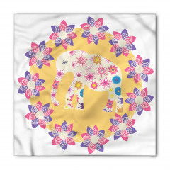 Çiçek ve Fil Desenli Bandana Fular