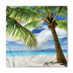 Beyaz Kumlu Plaj Temalı Bandana Fular