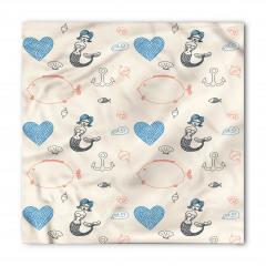 Mavi Saçlı Deniz Kızı Desenli Bandana Fular