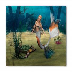Deniz Kızı ve Kaplumbağa Desenli Bandana Fular