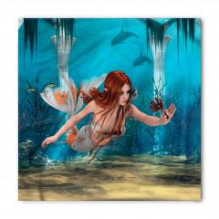 Çiçekli Deniz Kızı Desenli Bandana Fular