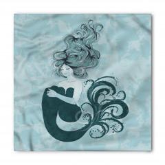 Uyuyan Deniz Kızı Desenli Bandana Fular