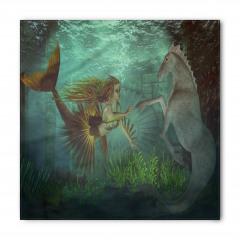 Deniz Kızı ve Denizatı Desenli Bandana Fular