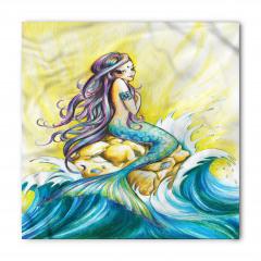 Dalga ve Deniz Kızı Desenli Bandana Fular