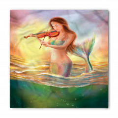 Keman Çalan Deniz Kızı Desenli Bandana Fular