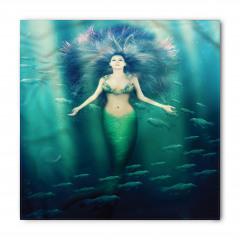 Mor Saçlı Deniz Kızı Desenli Bandana Fular