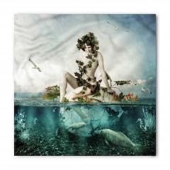 Deniz Kızı ve Kuş Desenli Bandana Fular