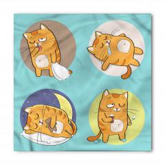 Uykucu Kediler Desenli Bandana Fular