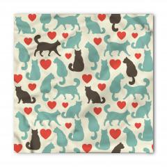 Aşk Kedileri Desenli Bandana Fular