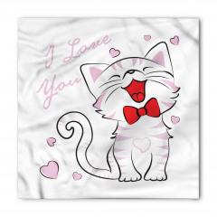 Aşık Kedi Desenli Bandana Fular