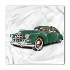 Nostaljik Yeşil Araba Desenli Bandana Fular