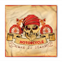 Kuru Kafa ve Motosiklet Desenli Bandana Fular