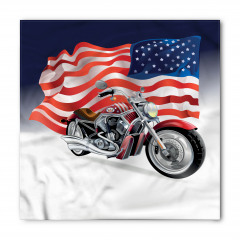 Motosiklet ve ABD Bayrağı Desenli Bandana Fular