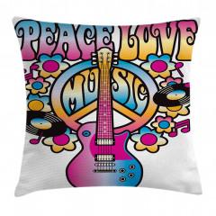 Aşk Barış ve Müzik Yastık Kırlent Kılıfı