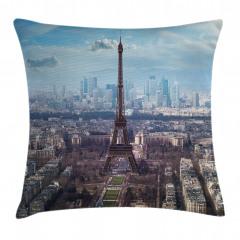 Paris ve Gökyüzü Temalı Yastık Kırlent Kılıfı