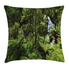 Ormandaki Şelale Temalı Yastık Kırlent Kılıfı