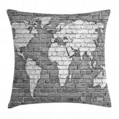 Klasik Dünya Haritası Yastık Kırlent Kılıfı