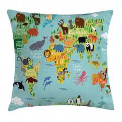 Hayvan Haritası Desenli Yastık Kırlent Kılıfı