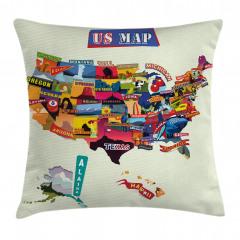 Rengarenk ABD Haritası Yastık Kırlent Kılıfı