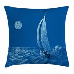 Ay Dalga ve Yelkenli Yastık Kırlent Kılıfı