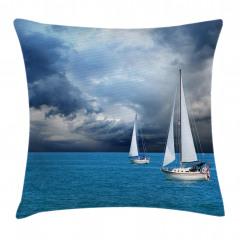 Fırtına Bulutu ve Tekne Yastık Kırlent Kılıfı