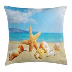Deniz Yıldızı ve Plaj Yastık Kırlent Kılıfı