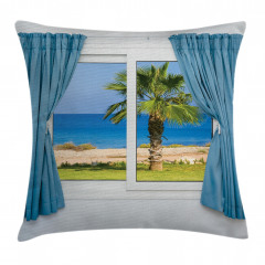 Pencere Deniz Manzaralı Yastık Kırlent Kılıfı