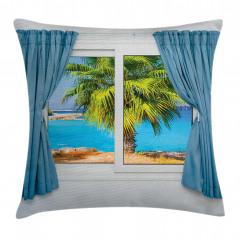 Pencere Deniz Palmiye Yastık Kırlent Kılıfı