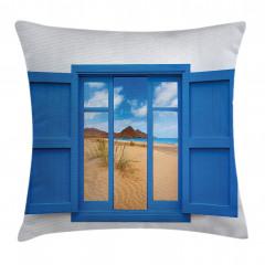 Pencerede Kumsal Deniz Yastık Kırlent Kılıfı
