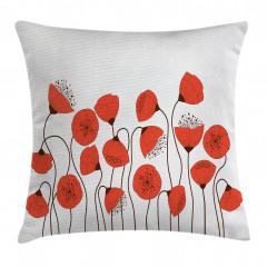 Gelincik Çiçeği Desenli Yastık Kırlent Kılıfı