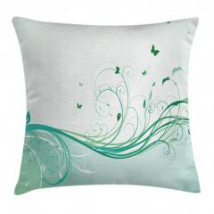 Yeşil Kelebek Desenli Yastık Kırlent Kılıfı